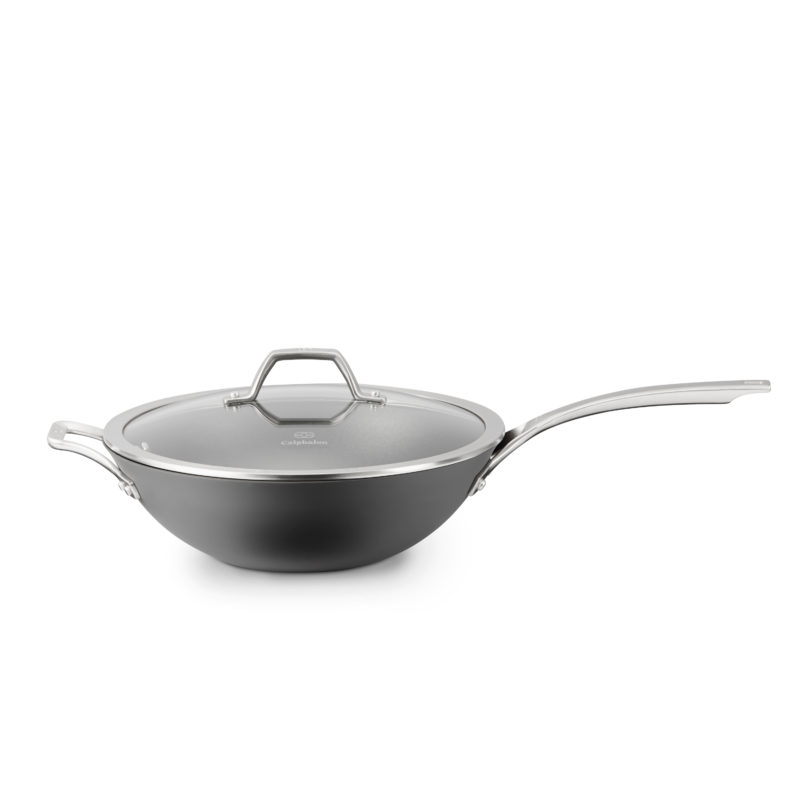 Signature Nonstick 12-in. Flat-Bottom Wok with Cover